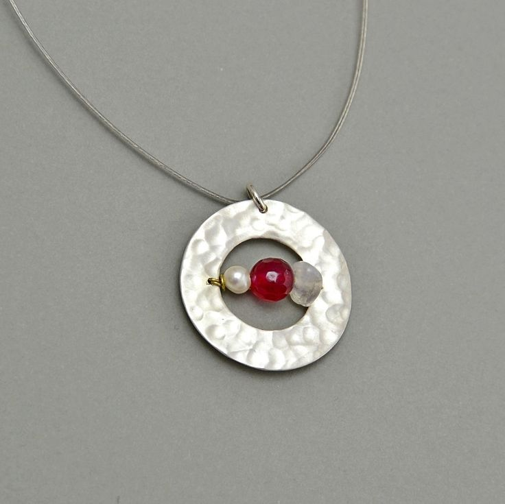 Double iron cord long necklace with silver hammered circle pendant, red jade, white pearl, red tagua nut and moon stone by NataliaNorenasilver on Etsy