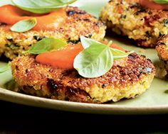 Quinoa-Spinach Cakes with Red Pepper Sauce