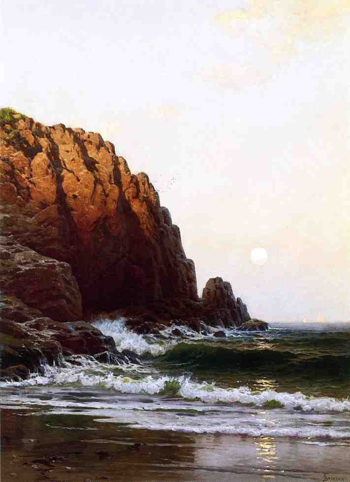 Moonrise, Coast of Maine by Alfred Thompson Bricher (1837-1908)