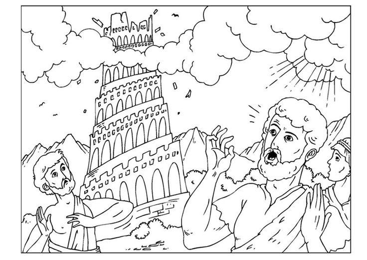 Kleurplaat toren van Babel