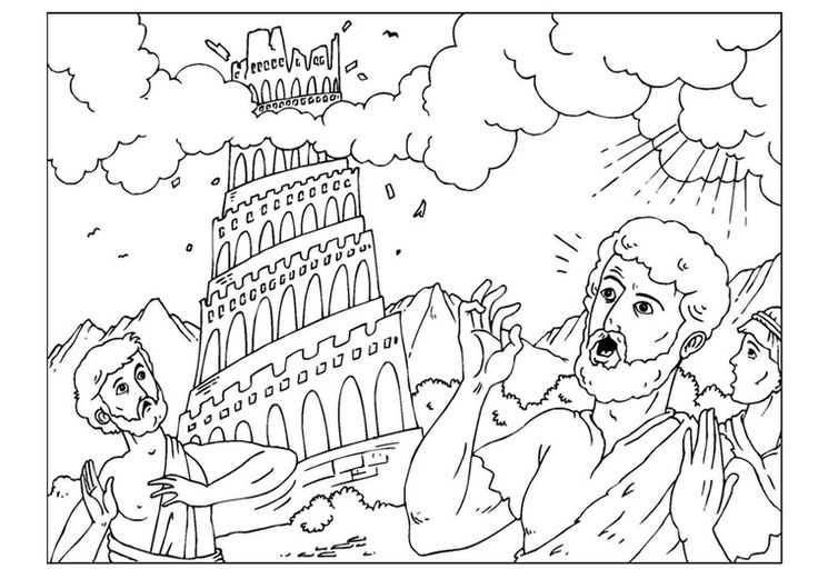 Coloring page tower of Babel
