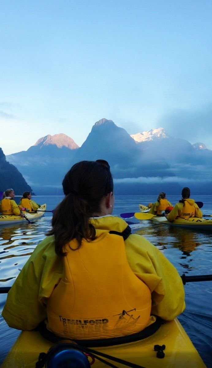 Kayaking on Milford Sound, South Island, New Zealand