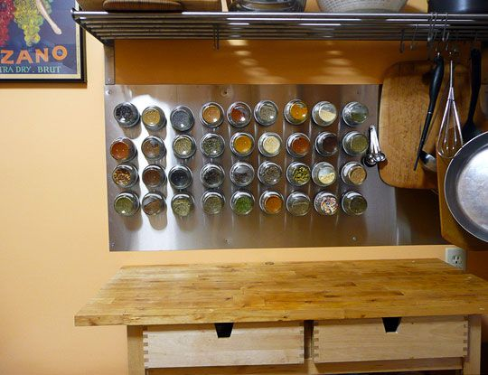 Need to do this...Kitchens, Storage Solutions, Baby Food Jars, Spices Storage, Magnets Spices Racks, Spices Jars, Spice Racks, Storage Ideas, Stainless Steel