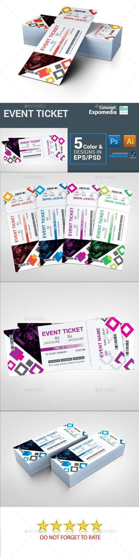 #Ticket - #Cards & #Invites #Print Templates Download here: https://graphicriver.net/item/ticket/19779899?ref=alena994