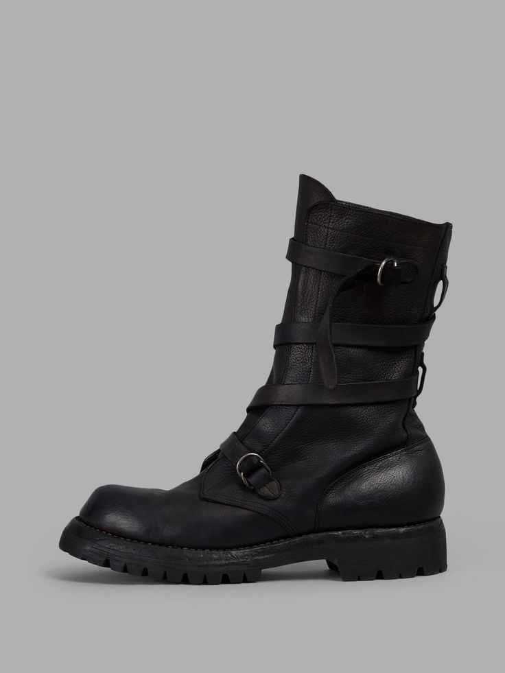 Guidi - black leather strap boot