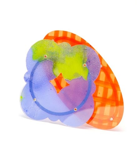 Helen Britton - Brooch: Blue Orange 2012 Silver, plastic, paint