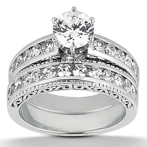 White Gold Engagement Ring Mounting Matching Wedding Band With Total Carat Weight In Channel Set Diamonds
