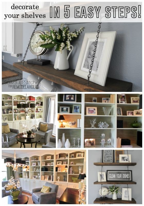 Easy shelf decor ideas - unique and simple but not boring! Great home decor tips!
