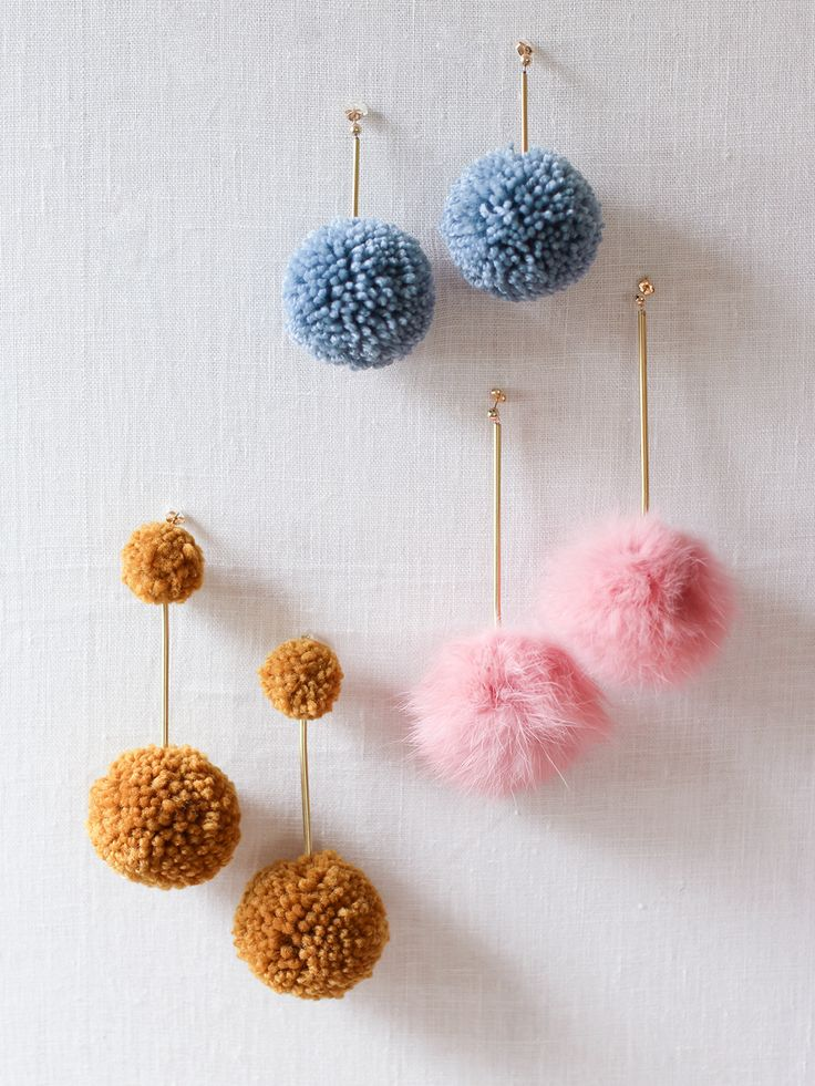 DIY pom pom earrings