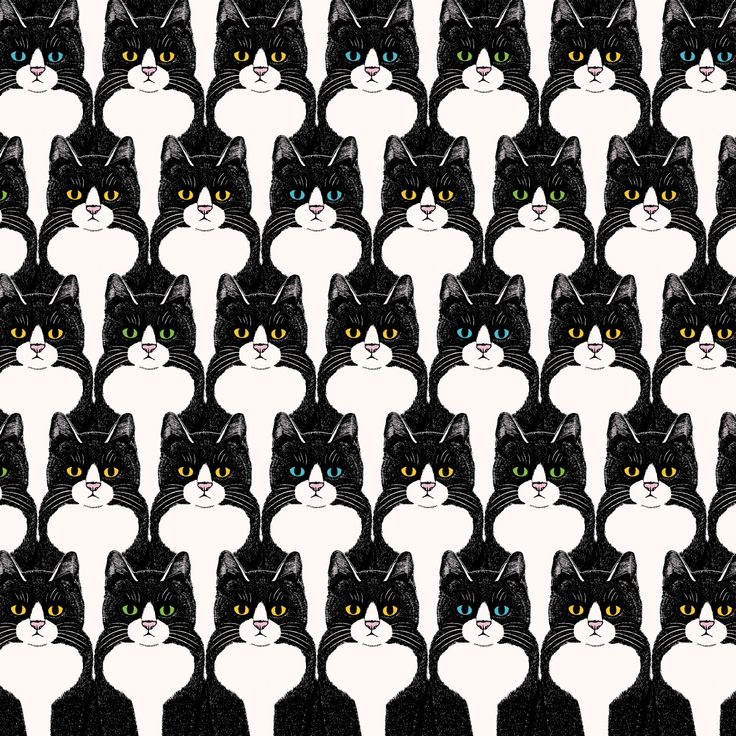 ハチワレ猫のシームレスパターン「マタタビ」 #パターン #イラストレーション #イラスト #ネコ #pattern #Illustration #illust #cat #gatto