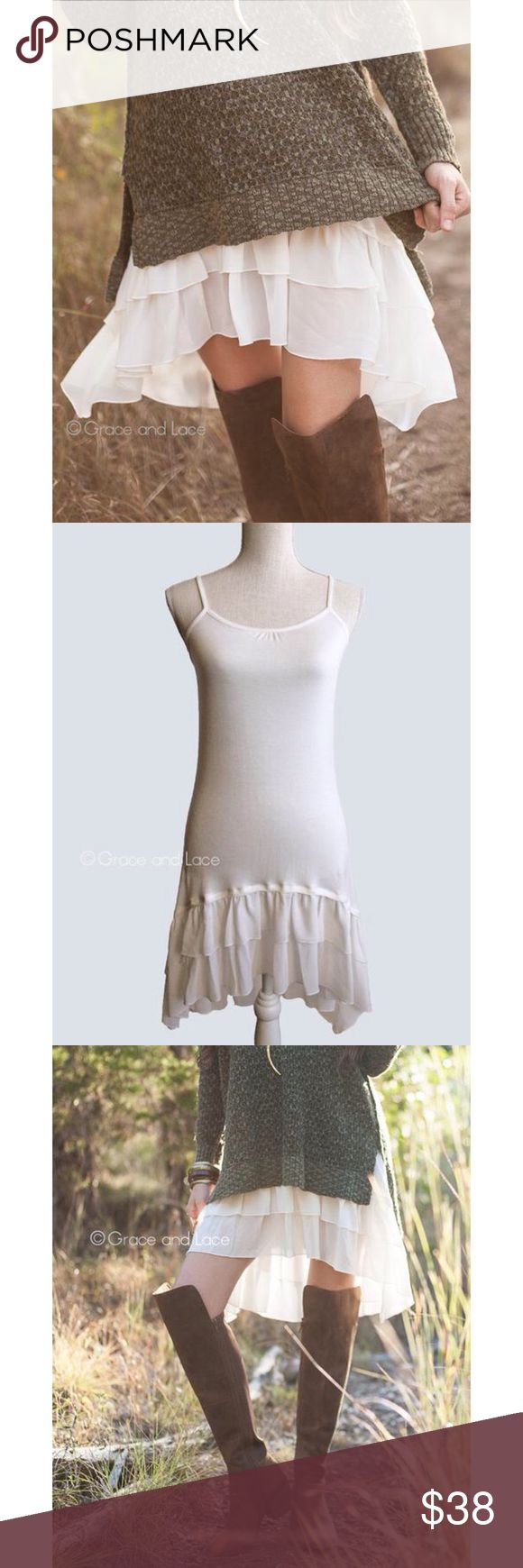 "(M) Grace & Lace Chiffon Dress Extender  Wear it under dresses, sweaters for added length  Size Medium (Size 6-8)  Bust: 30""  Length front (neckline to bottom of chiffon) 25""  Length back (center top to bottom of chiffon) 29 5/8"" Grace & Lace Intimates & Sleepwear Chemises & Slips"
