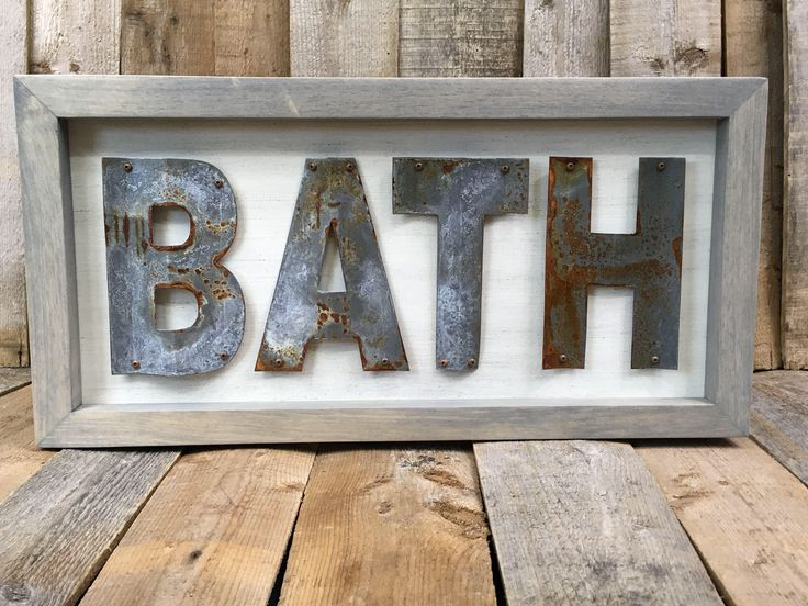 We took a break away from social media to recharge our batteries after a very busy holiday season. We are so grateful for all of the support we have from all of our family, friends, and customers. We are hoping for great things for 2018! The weather has slowed us down a little but we are starting to restock our store! Bath, Rustic Bathroom Decor, Metal Sign, Bathroom Sign, Farmhouse Decor  #tmcreations7477 #bathroomdecor #rustymetal #farmhousestyle #happynewyear