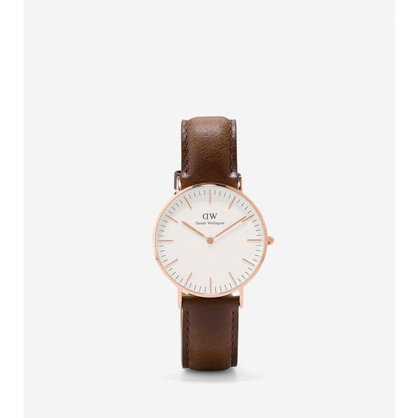 Cole Haan Daniel Wellington - Women's 36mm Bristol Watch ($198) ❤ liked on Polyvore featuring jewelry, watches, formal jewelry, thin watches, rose gold watches, cole haan and brown leather band watches