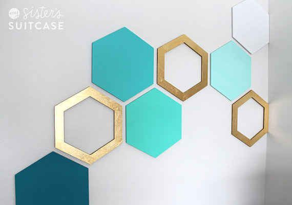 http://www.idecz.com/category/Can-Opener/ Hexagon Wall Art Make photo frames with open ones for a cool wall collage.