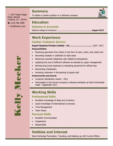 461 best Resume Templates and Samples images on Pinterest Free - cashier experience resume examples
