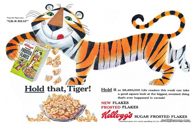 """Kellogg's Sugar Frosted Flakes - When the word """"sugar"""" was everywhere.: Frostings Flakes, Sugar Frostings, Breakfast Vintage, Kellogg Sugar, Vintage Observed, Retrovintag Adverti, Photo Shared, Behind Adverti, Vintage Ads"""