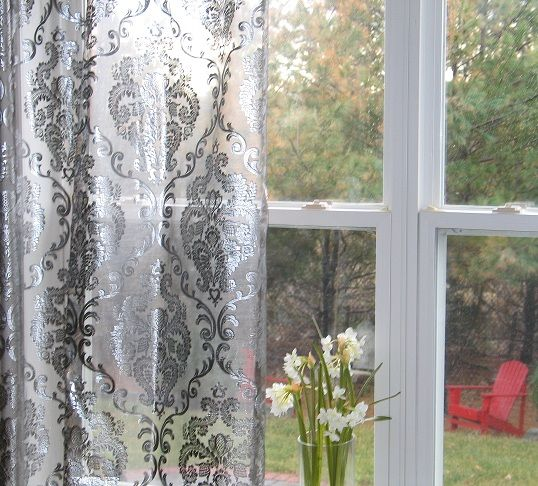 Silver Metallic Foil Damask Embroidered Organza Rod Pocket Sheers Curtains Reg 4000 Sale