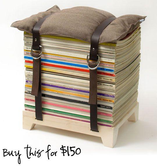 Magazine Stool: Diy Ideas, Magazines Storage, Chairs, Book, Foot Stools, Old Magazines, Magazines Stools, Diy Projects, Belts