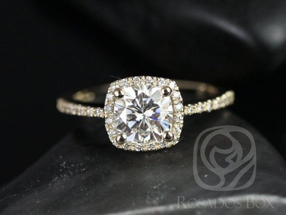 Barra 6mm 14kt Yellow Gold Cushion FB Moissanite and Diamond Halo Engagement Ring (Other metals and stone options available)