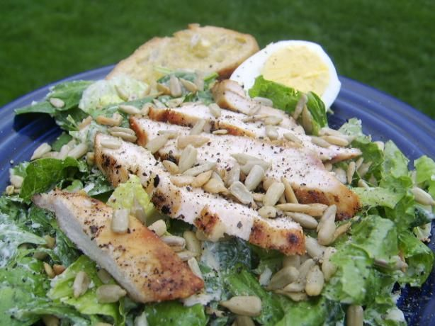 Cook Yourself Thin s Chicken Caesar Salad from Food.com: Another from the Cook Yourself Thin girls on Lifetime TV. Enjoy! The chicken makes it more filling, but the dressing is what stands out for me.