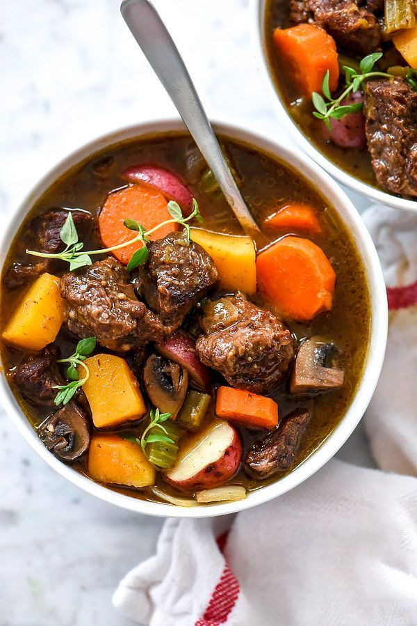 Tender chuck roast pairs with classic stew vegetables and butternut squash for extra nutrition in this stew made in the Instant Pot, pressure cooker or slow cooker.