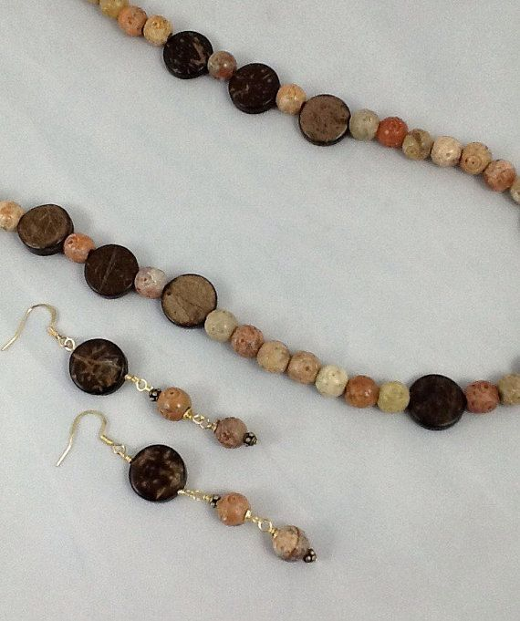 All Hand Carved Soapstone And Wood This Necklace and Earring