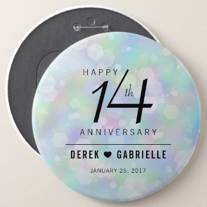 Elegant 14th Opal Wedding Anniversary Celebration Button - elegant wedding gifts diy accessories ideas