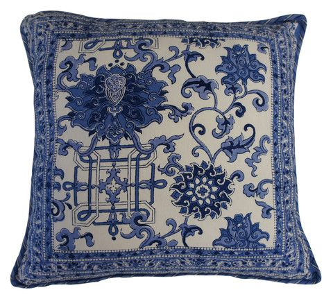 Printed natural cotton cushion with a blue and white design reminiscent of decorative pottery. The reverse has a complimenting repeated design in the same colours.  Hand block printed in India using ethical and environmentally friendly construction that preserves and celebrates traditional artisan skills.  100% natural cotton cover with NZ made Polyfill inner. Dimensions: 45cm x 45cm