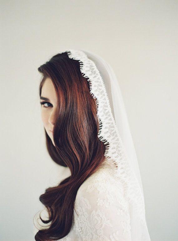 Lace Mantilla Veil, Wedding Veil, Eyelash, Chantilly Lace, English Net Veil…