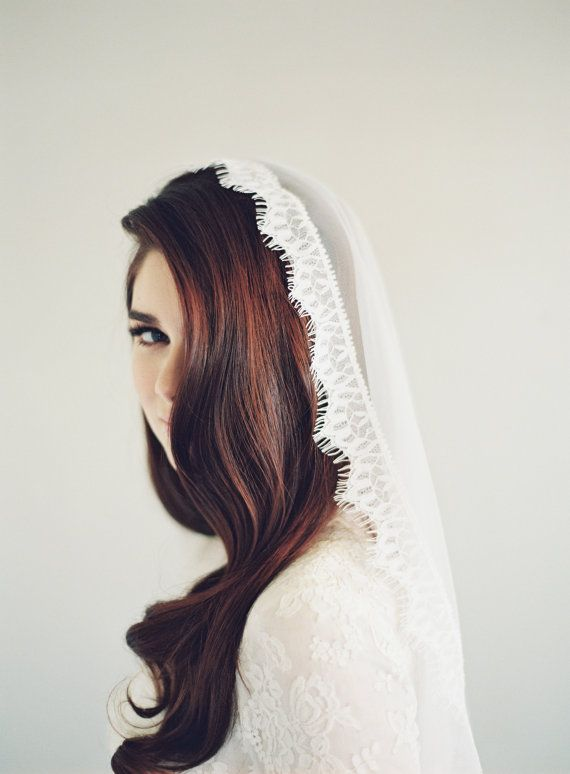 Lace Mantilla Veil Wedding Veil Eyelash Chantilly by VeiledBeauty