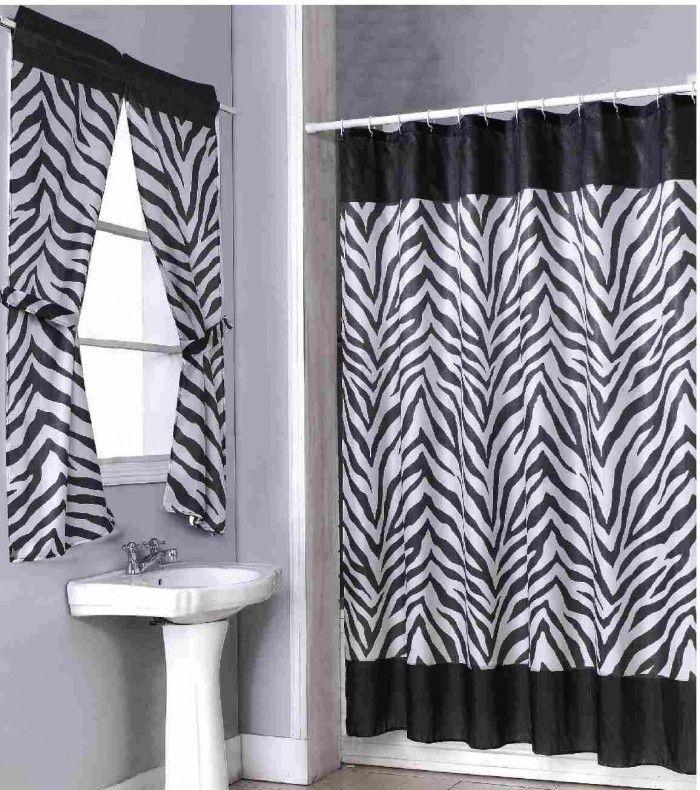 Chic Zebra Print Bathroom Ideas: Wonderful Zebra Curtain In The Zebra Print Bathroom With White Sink And Zebra Curtain Near Glass Window