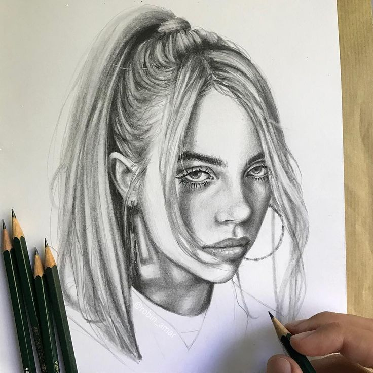 Portrait Of Billie Eilish By Artist Robin Amar From France
