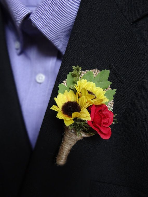 This sunflower boutonniere mixed with a red rose and greenery will look great in your outdoor or rustic wedding! These are great for the groom,