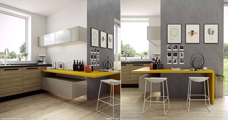 Idea cucina maschile con il piano di lavoro di colore giallo senape