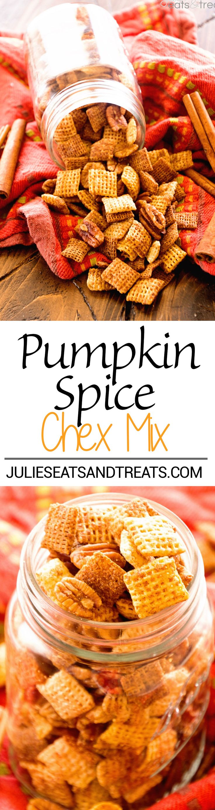 Pumpkin Chex Mix™ Recipe ~ Butter, Brown Sugar and Spice Make a Quick, Easy Sweet and Crunchy Chex Mix! Plus Make it in Your Microwave! @ChexCereal #spon #ChexMagic
