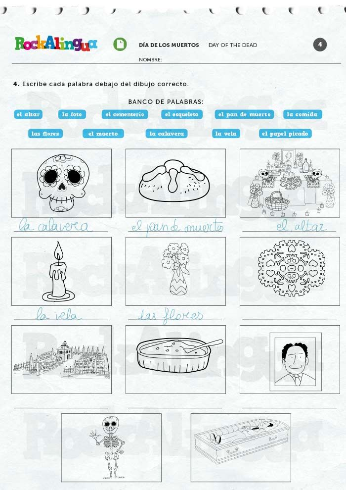 Day Of The Dead Worksheet Rockalingua Day Of The Dead Free Printable Worksheets Dead