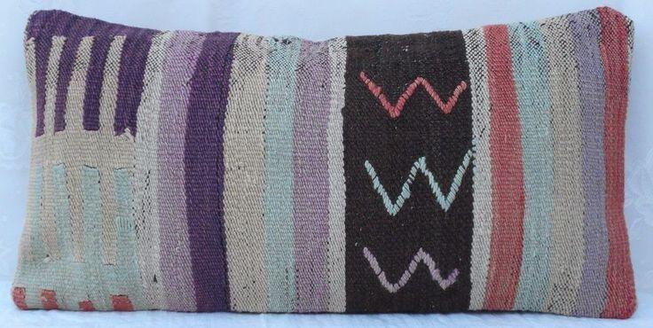 12x24'' Primitive Country Decor Vintage  Long Turkish Kilim Lumbar Pillow Cover #Handmade