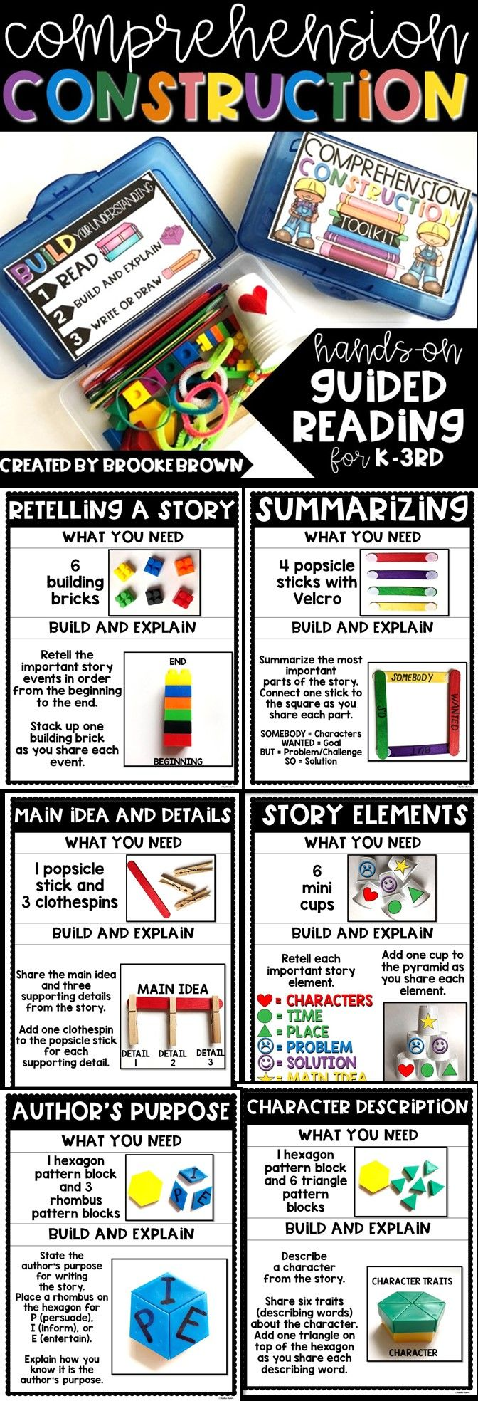 Hands-on Guided reading for Kindergarten, first grade, and second grade   comprehension construction