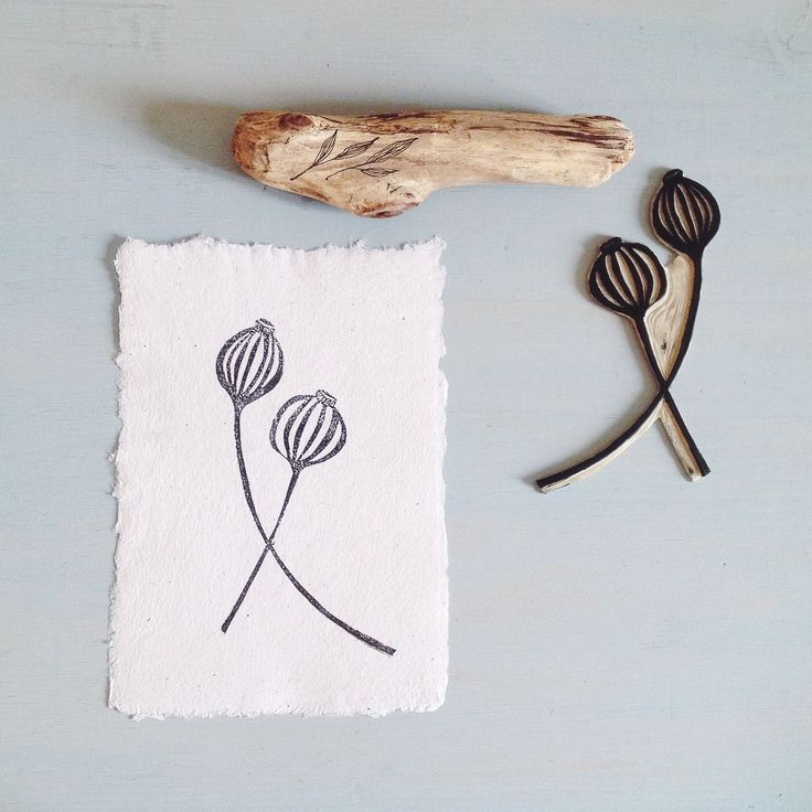 ONLY 2 LEFT! botanical linocut prints Oregano and Poppy seed pods