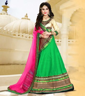 Green embroidered silk unstitched ghagra choli at Mirraw.