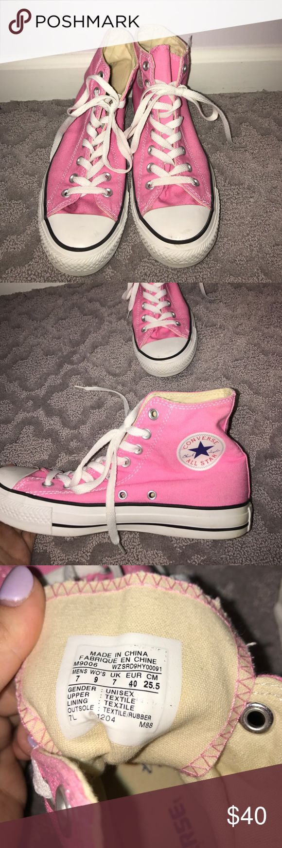 Pink high top converse Only worn once they are just too big sadly Converse Shoes Sneakers