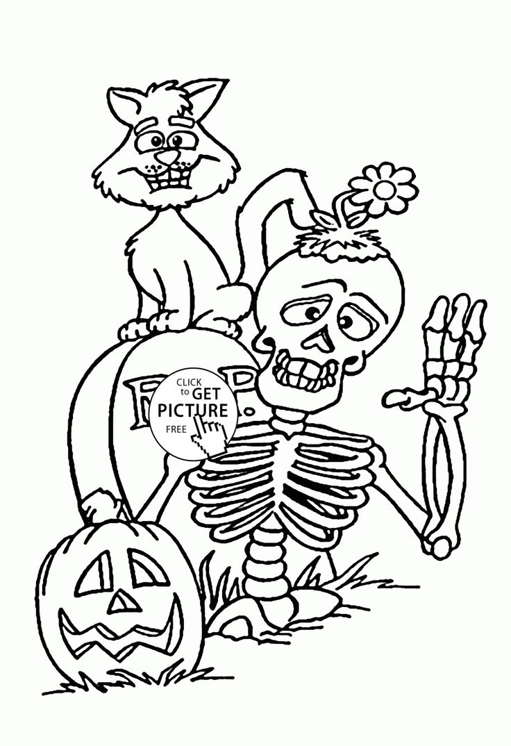 Skeleton and Black Cat coloring pages for kids halloween