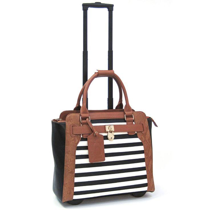 Cabrelli Sally Stripe Rolling Laptop Briefcase Women's Bag Wheeled Case 716020U…