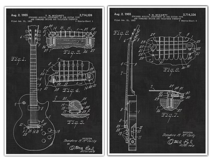 "Gibson Les Paul Guitar Posters, Guitar Art, Guitar Player Gift, Electric Guitar, Patent Prints, Guitar Poster - set of 2 Gibson Guitar posters. Decorate your home or office and get inspired with Patent Poster Prints! These are awesome posters of inventions that have changed our lives throughout history. These poster prints are easy to frame and hang in your own home or perfect to give as a gift! Paper Size: Approximately 18"" x 24"" or 24"" x 36"" Framing your Poster: You may need to trim the..."