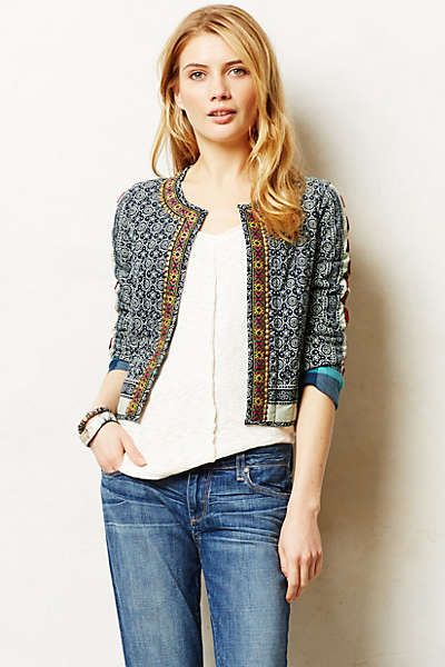 Anthropologie - Mendura Jacket. One possible way to use up my leftover sari fabric.