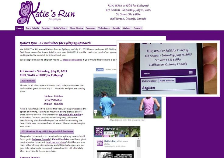 Katie's Run for Epilepsy - recently redesigned to be responsive