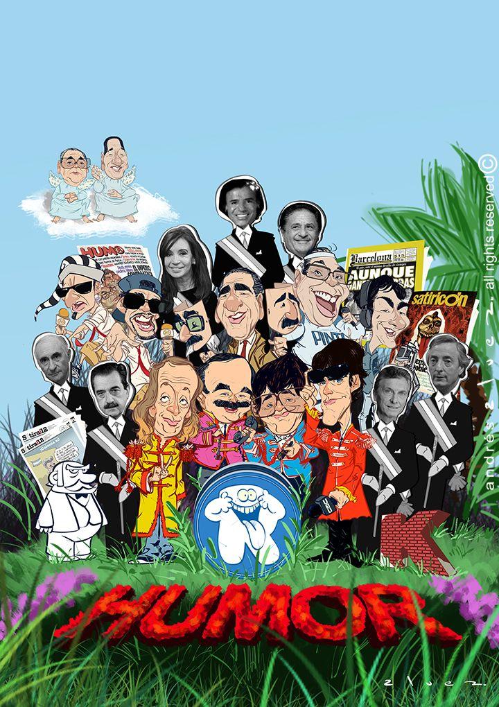 Humor Politico en 35 años de democracia Argentina - Ilustracion de tapa para la revista Caras & Caretas