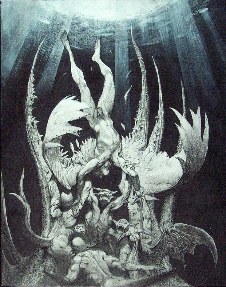 Lucifer falling from Heaven - by Simon Bisley