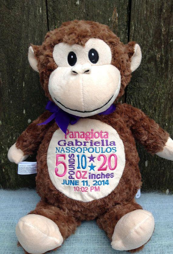 New baby 147 pinterest monkey nursery decor monogrammed baby gift gender neutral plush monkey world class embroidery negle Gallery