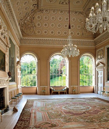 Yester House ballroom, Robert Adam's most famous contribution to Yester House. In 1789 Adam improved on his father William's original early-18th-century design by enlarging the windows in better proportion to the lofty, 30-foot ceiling